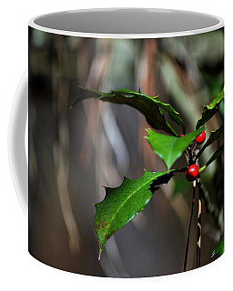 Coffee Mug featuring the photograph Natural Holly Decor by Bill Swartwout