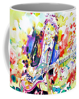 Neil Young Playing The Guitar - Watercolor Portrait.2 Coffee Mug