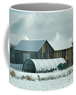 Coffee Mug featuring the photograph New And Old Barn Planks by Brenda Brown