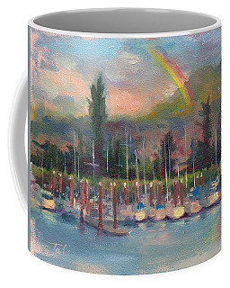 Coffee Mug featuring the painting New Covenant - Rainbow Over Marina by Talya Johnson