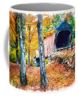 New England Covered Bridge Watercolor 2 Coffee Mug