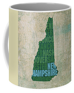 New Hampshire Word Art State Map On Canvas Coffee Mug