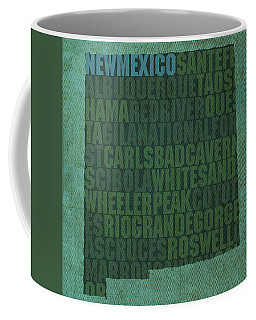New Mexico Word Art State Map On Canvas Coffee Mug