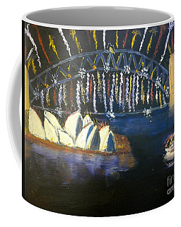 Coffee Mug featuring the painting New Year Eve On Sydney Harbour by Pamela  Meredith