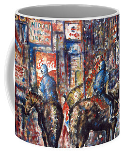 New York Broadway At Night - Oil On Canvas Painting Coffee Mug