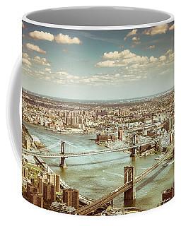 New York City - Brooklyn Bridge And Manhattan Bridge From Above Coffee Mug