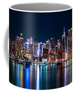 New York Panorama By Night Coffee Mug by Mihai Andritoiu