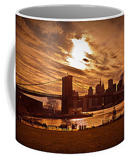 New York Skyline And Brooklyn Bridge -- Late Afternoon Coffee Mug