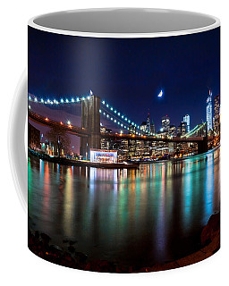 New York Skyline And Brooklyn Bridge With Crescent Moon Rising Coffee Mug