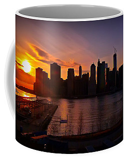 New York Skyline Sunset -- From Brooklyn Heights Promenade Coffee Mug
