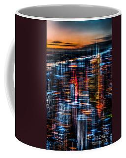 New York- The Night Awakes - Orange Coffee Mug