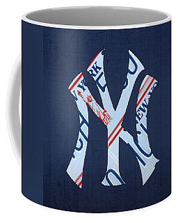 New York Yankees Baseball Team Vintage Logo Recycled Ny License Plate Art Coffee Mug