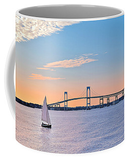 Newport Bridge Twilight Sunset With Sailboat Rhode Island Usa Coffee Mug