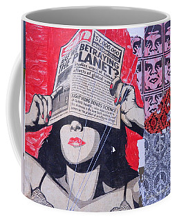 Coffee Mug featuring the photograph Shepard Fairey Graffiti Andre The Giant And His Posse Wall Mural by Kathy Barney