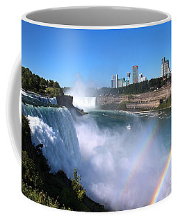 Coffee Mug featuring the photograph Niagara Falls Double Rainbow by Jemmy Archer
