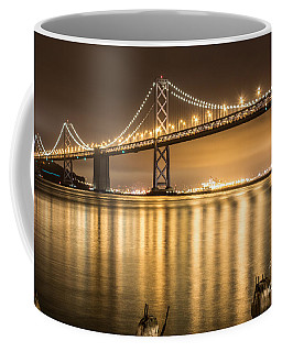 Coffee Mug featuring the photograph Night Descending On The Bay Bridge by Suzanne Luft