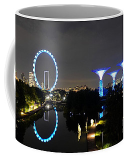 Night Shot Of Singapore Flyer Gardens By The Bay And Water Reflections Coffee Mug