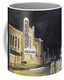 Night Time At Michigan Theater - Ann Arbor Mi Coffee Mug by Yoshiko Mishina