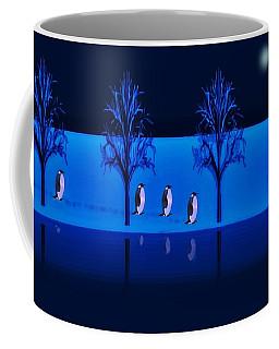 Night Walk Of The Penguins Coffee Mug by David Dehner