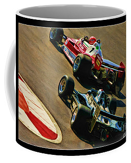 Niki Lauda Leads Mario Andretti Coffee Mug