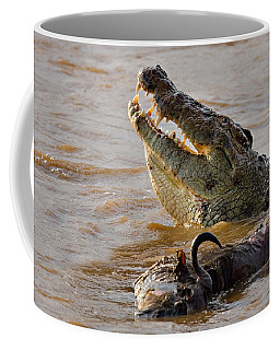 Nile Crocodile With A Dead Wildebeest Coffee Mug