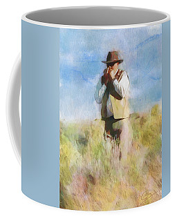 Coffee Mug featuring the painting No Useless Cares by Greg Collins