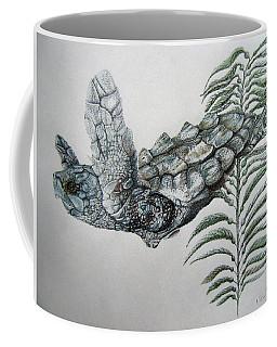 Coffee Mug featuring the drawing Norman Blue by Mayhem Mediums