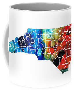 North Carolina - Colorful Wall Map By Sharon Cummings Coffee Mug