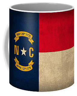 North Carolina State Flag Art On Worn Canvas Coffee Mug