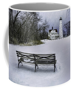 North Point Lighthouse And Bench Coffee Mug