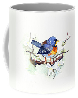 Coffee Mug featuring the painting Northern Parula by Katherine Miller