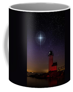 Coffee Mug featuring the photograph Star Over Annisquam Lighthouse by Jeff Folger