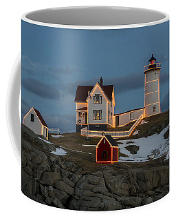 Nubble Lighthouse At Christmas Coffee Mug