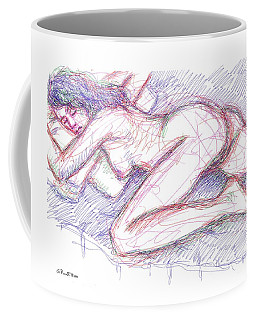 Coffee Mug featuring the drawing Nude Female Sketches 5 by Gordon Punt