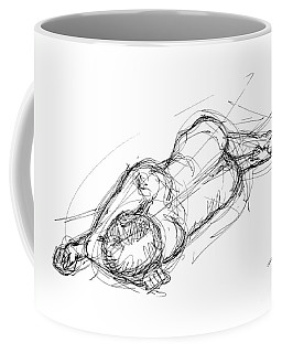 Coffee Mug featuring the drawing Nude Male Sketches 4 by Gordon Punt