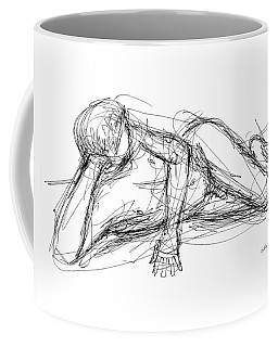 Coffee Mug featuring the drawing Nude Male Sketches 5 by Gordon Punt