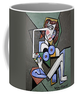 Coffee Mug featuring the painting Nude Woman With Rubiks Cube by Anthony Falbo