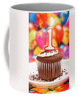 Coffee Mug featuring the photograph Chocolate Cupcake With One Burning Candle by Vizual Studio