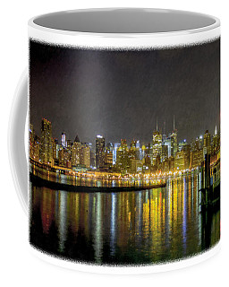 Nyc At Night Faux Oil Coffee Mug