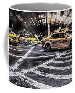 Nyc Yellow Cab On 5th Street - White Coffee Mug