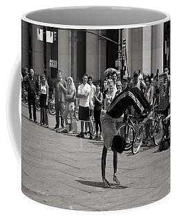 Coffee Mug featuring the photograph Nycity Street Performer by Angela DeFrias