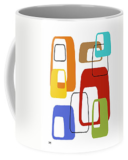 Coffee Mug featuring the digital art Oblongs On White 4 by Donna Mibus