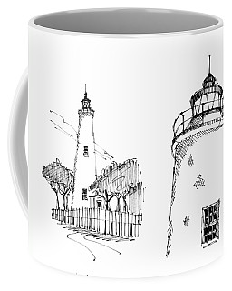 Coffee Mug featuring the drawing Ocaracoke Lighthouse Detail Sketches 1992 by Richard Wambach