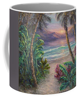 Ocean Sunrise Painting With Tropical Palm Trees  Coffee Mug
