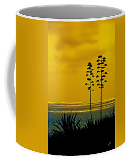 Ocean Sunset With Agave Silhouette Coffee Mug