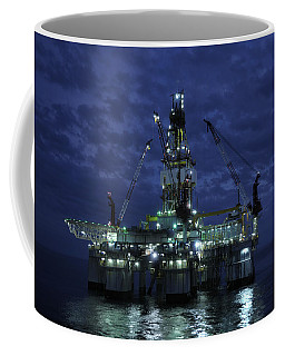 Offshore Oil Rig At Night Coffee Mug
