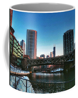Ohio Street Bridge Over Chicago River Coffee Mug by Nick Heap