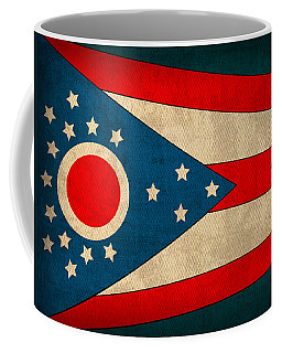 Ohio State Flag Art On Worn Canvas Coffee Mug