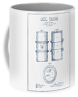 Oil Drum Patent Drawing From 1905 -  Blue Ink Coffee Mug