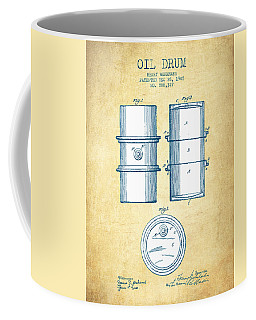 Oil Drum Patent Drawing From 1905 - Vintage Paper Coffee Mug